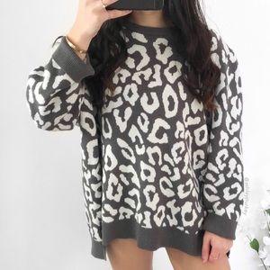 gray white leopard knit sweater